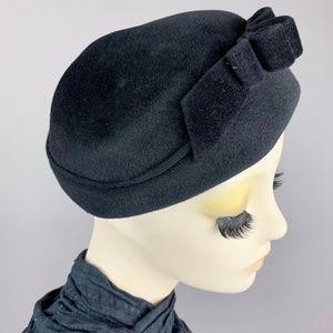 Vintage 50s Fur Felt Velour Toque Mourning Hat